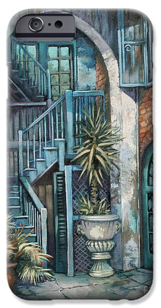 French Quarter Paintings iPhone Cases - Brulatour Courtyard iPhone Case by Dianne Parks