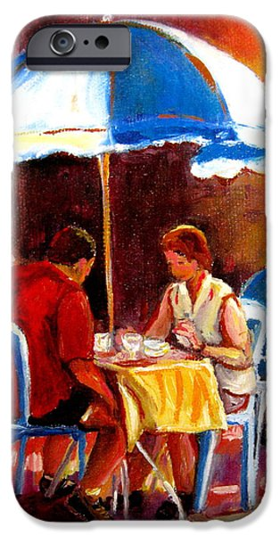 Hockey Paintings iPhone Cases - Brunch At The Ritz iPhone Case by Carole Spandau