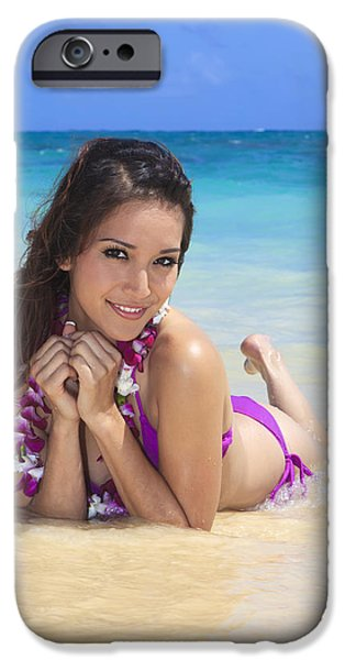 Youthful iPhone Cases - Brunette on Beach iPhone Case by Tomas del Amo