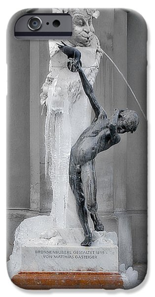 Brunnenbuberl - Boy at the fountain -  Munich Germany iPhone Case by Christine Till