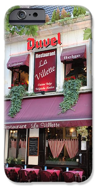 Brussels - Restaurant La Villette with Trees iPhone Case by Carol Groenen