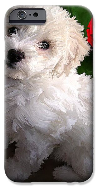 Puppy Digital Art iPhone Cases - Bryce iPhone Case by David Wagner