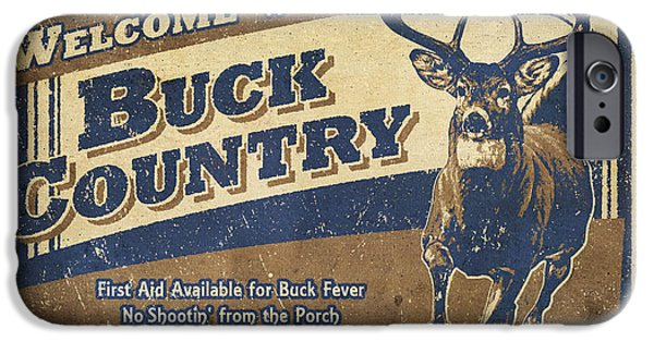 Bruce Paintings iPhone Cases - Buck Country Sign iPhone Case by JQ Licensing
