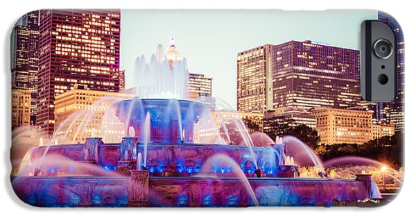 Sears Tower iPhone Cases - Buckingham Fountain and Chicago Skyline at Night iPhone Case by Paul Velgos