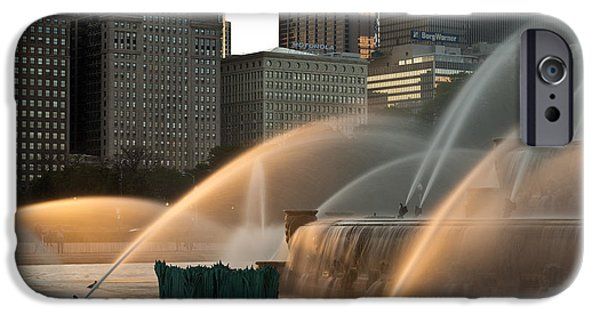Sears Tower iPhone Cases - Buckingham Fountain Sidelight  iPhone Case by Steve Gadomski