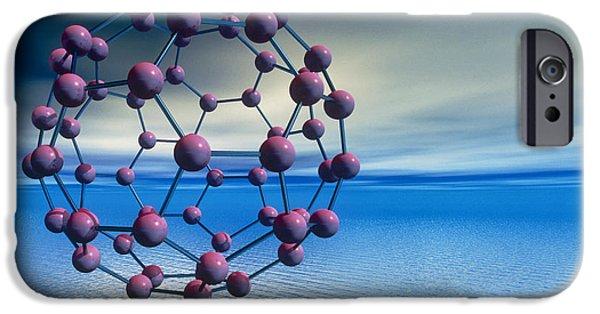 Molecular Graphic iPhone Cases - Buckyball (c60) Molecule Over Water iPhone Case by Laguna Design