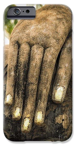 Buddhist Digital Art iPhone Cases - Buddha Hand iPhone Case by Adrian Evans