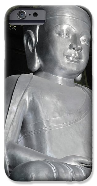 Buddha in solid silver - Jin'an Temple Shanghai iPhone Case by Christine Till