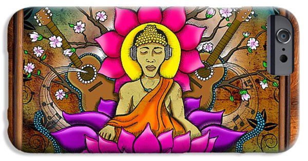 Cherry Blossoms Drawings iPhone Cases - Buddha Music iPhone Case by Julie Oakes