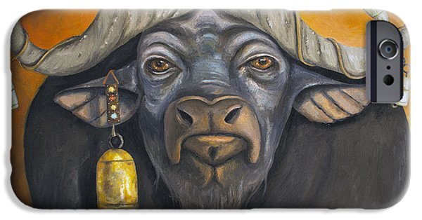 Steer Paintings iPhone Cases - Buffalo Bells iPhone Case by Leah Saulnier The Painting Maniac