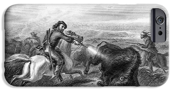 Destiny iPhone Cases - Buffalo Hunting, 1870 iPhone Case by Granger