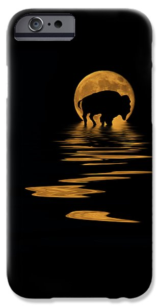 Evening Mixed Media iPhone Cases - Buffalo In The Moonlight iPhone Case by Shane Bechler