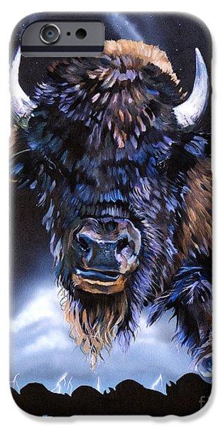 Sacrifice Mixed Media iPhone Cases - Buffalo Medicine iPhone Case by J W Baker