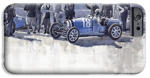 Vintage Sport Cars iPhone Cases - Bugatti 35C Monaco GP 1930 Louis Chiron  iPhone Case by Yuriy  Shevchuk