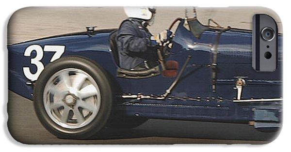 Indy Car iPhone Cases - Bugatti On Track Laguna Seca iPhone Case by Curt Johnson