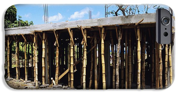 Bamboo House iPhone Cases - Building Construction iPhone Case by David Nunuk