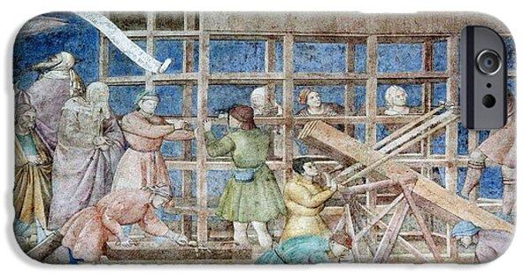 Noah iPhone Cases - Building Noahs Ark, 14th Century Fresco iPhone Case by Sheila Terry