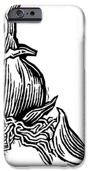 Bulbs Of Garlic, Woodcut iPhone Case by Gary Hincks