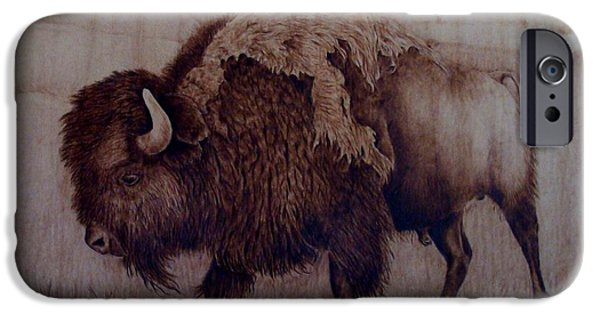 Bison Pyrography iPhone Cases - Bull Attitude iPhone Case by Jo Schwartz