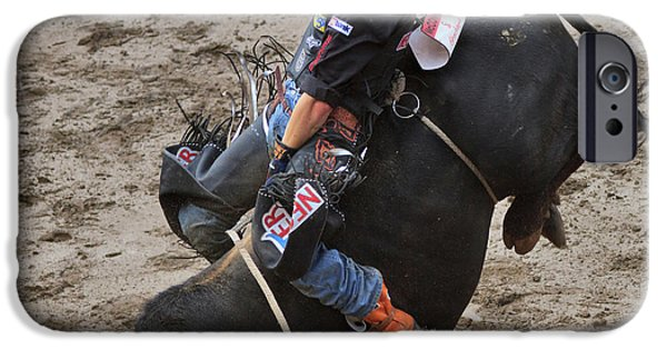 Canada Photograph iPhone Cases - Bull Riding iPhone Case by Louise Heusinkveld