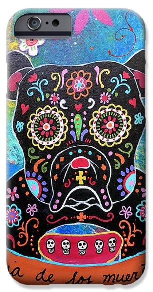 Bestfriend iPhone Cases - Bulldog Dia De Los Muertos iPhone Case by Pristine Cartera Turkus