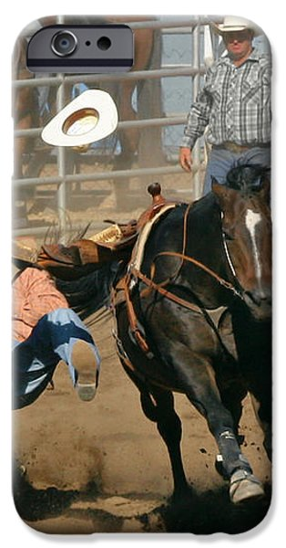 Bulldogging at the Rodeo iPhone Case by Christine Till