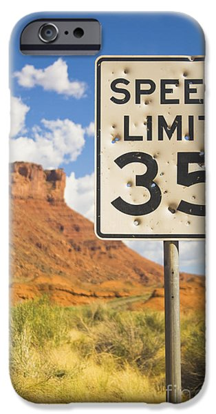 Vandalize Photographs iPhone Cases - Bullet Holes in Speed Limit Sign iPhone Case by Thom Gourley/Flatbread Images, LLC