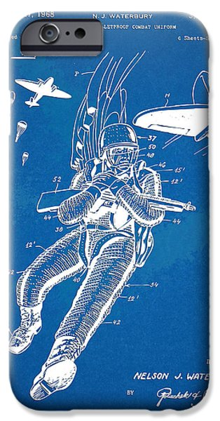 Survival iPhone Cases - Bulletproof Patent Artwork 1968 Figure 14 iPhone Case by Nikki Marie Smith
