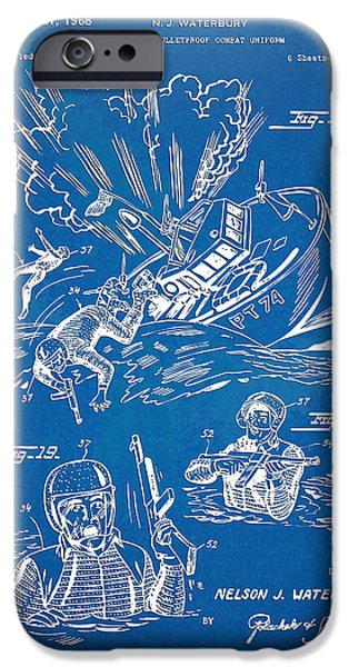 Survival iPhone Cases - Bulletproof Patent Artwork 1968 Figures 18 to 20 iPhone Case by Nikki Marie Smith