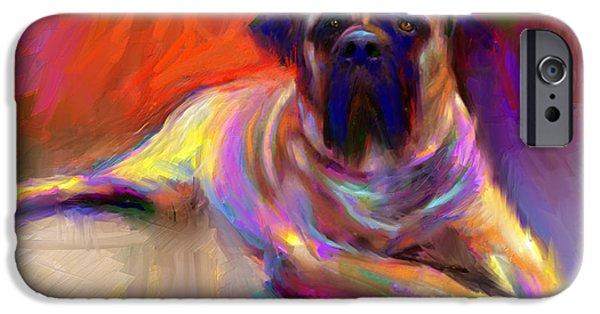 Svetlana Novikova iPhone Cases - Bullmastiff dog painting iPhone Case by Svetlana Novikova