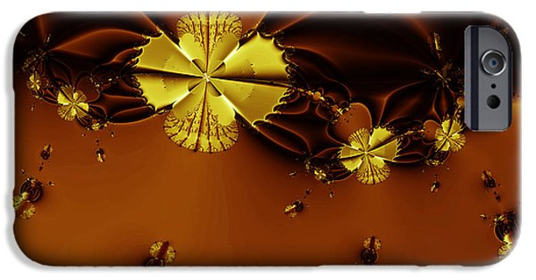 Algorithmic Digital Art iPhone Cases - Bumble Beez Over Chocolate Lake . Square . S19 iPhone Case by Wingsdomain Art and Photography