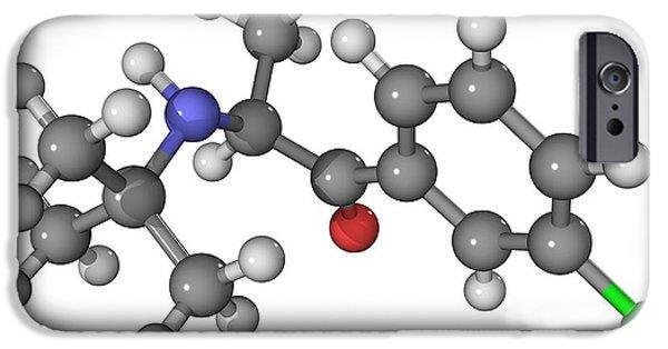 Antidepressant iPhone Cases - Bupropion Antidepressant Drug Molecule iPhone Case by Laguna Design