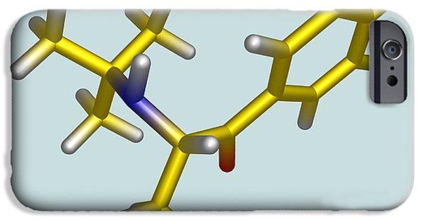 Antidepressant iPhone Cases - Bupropion Drug Molecule iPhone Case by Dr Tim Evans