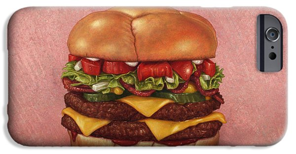 Beef iPhone Cases - Burger iPhone Case by James W Johnson