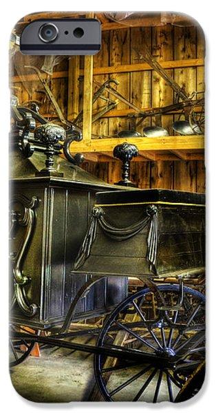 Burial Hearse Wagon Coach - vintage - nostalgia - western - antique  iPhone Case by Lee Dos Santos