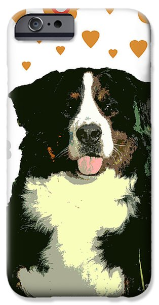 Puppy Digital Art iPhone Cases - Burmese Mountain Dog iPhone Case by One Rude Dawg Orcutt