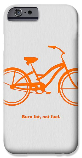 Bicycles iPhone Cases - Burn Fat not Fuel iPhone Case by Naxart Studio