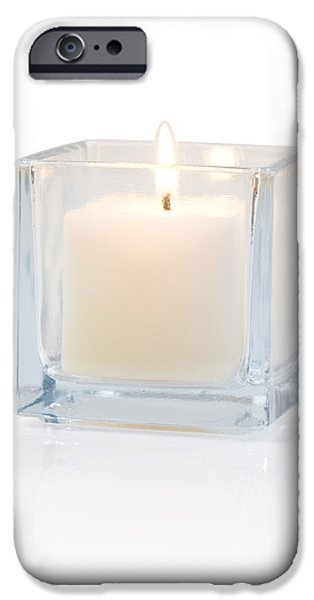 burning candle side view 20 degree iPhone Case by ATIKETTA SANGASAENG