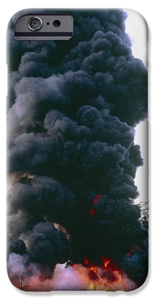 Oil Pollution iPhone Cases - Burning Pool Of Oil Beside Well In Rainforest iPhone Case by Dr Morley Read