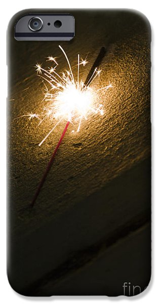 Beach At Night iPhone Cases - Burning Sparkler On Sidewalk At Night iPhone Case by Roberto Westbrook