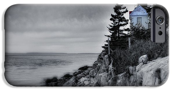 New England Lighthouse iPhone Cases - Burning the Midnight Oil - Bass Harbor iPhone Case by Thomas Schoeller