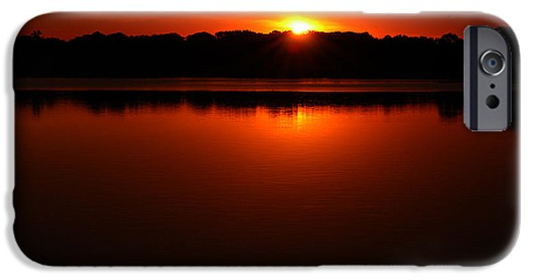 Burned Clay iPhone Cases - Burnt Orange Sunset On Water iPhone Case by Clayton Bruster