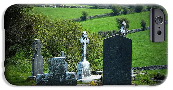 Headstones iPhone Cases - Burren Crosses County Clare Ireland iPhone Case by Teresa Mucha
