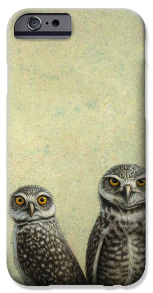 Light Drawings iPhone Cases - Burrowing Owls iPhone Case by James W Johnson