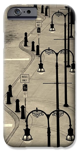 Asphalt iPhone Cases - Bus Stop in Nashville TN iPhone Case by Susanne Van Hulst