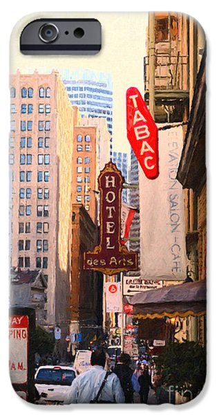 Sf iPhone Cases - Bush Street in San Francisco iPhone Case by Wingsdomain Art and Photography