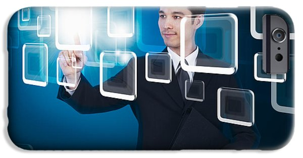 Cyberspace iPhone Cases - Businessman Pressing Touchscreen iPhone Case by Setsiri Silapasuwanchai
