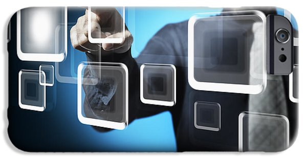 Cyberspace iPhone Cases - Businessman touching screen button iPhone Case by Setsiri Silapasuwanchai