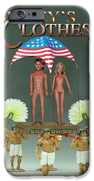Republican Mixed Media iPhone Cases - But-But They Are Not Wearing Any Clothes - Mitt Ken and Anne Barbie Romney  iPhone Case by Reggie Duffie