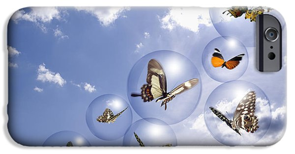 Insect iPhone Cases - Butterflies and bubbles iPhone Case by Tony Cordoza